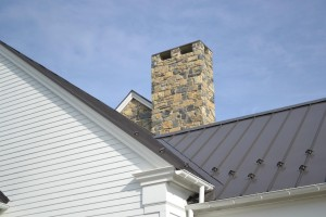 The limestone chimney on the Baylor House project in Lewisburg, PA.