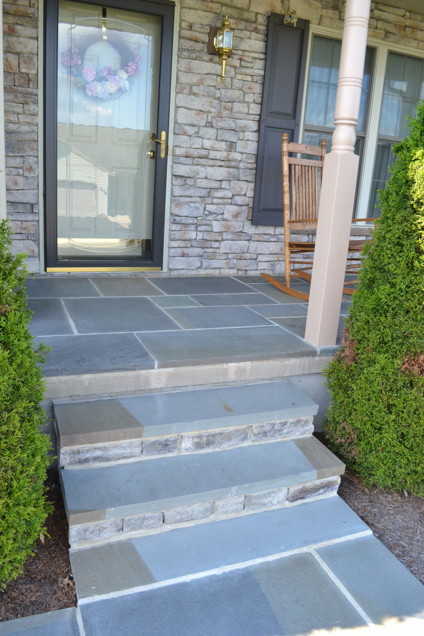 A flagstone patio built in 2013 in Mt. Pleasant Mills, Pennsylvania.