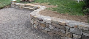 A mountain stone retaining wall at the Snyder residence in Richfield, PA.
