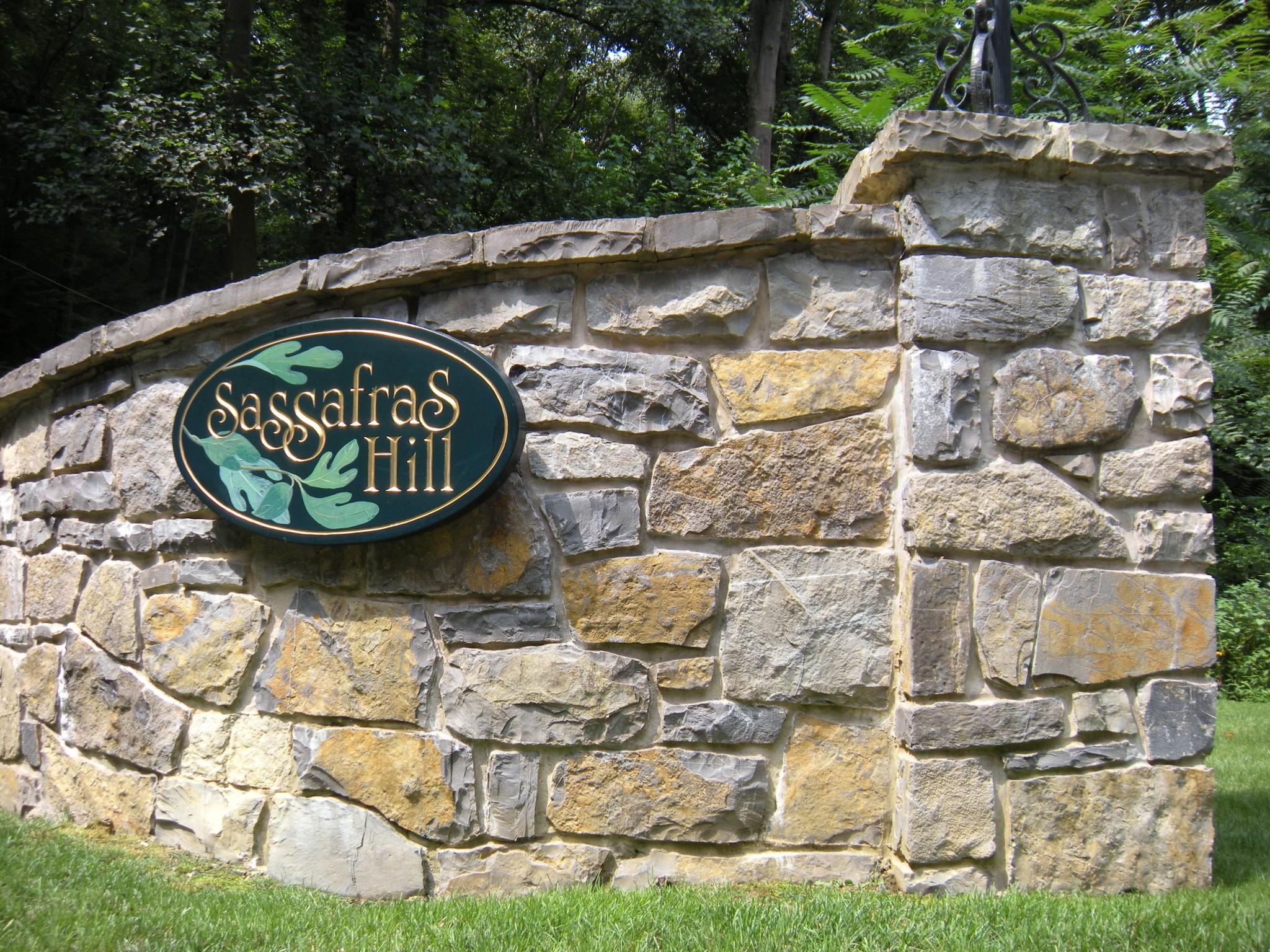 Limestone Gateway on Sassafrass Hill in Sunbury, Pennsylvania.