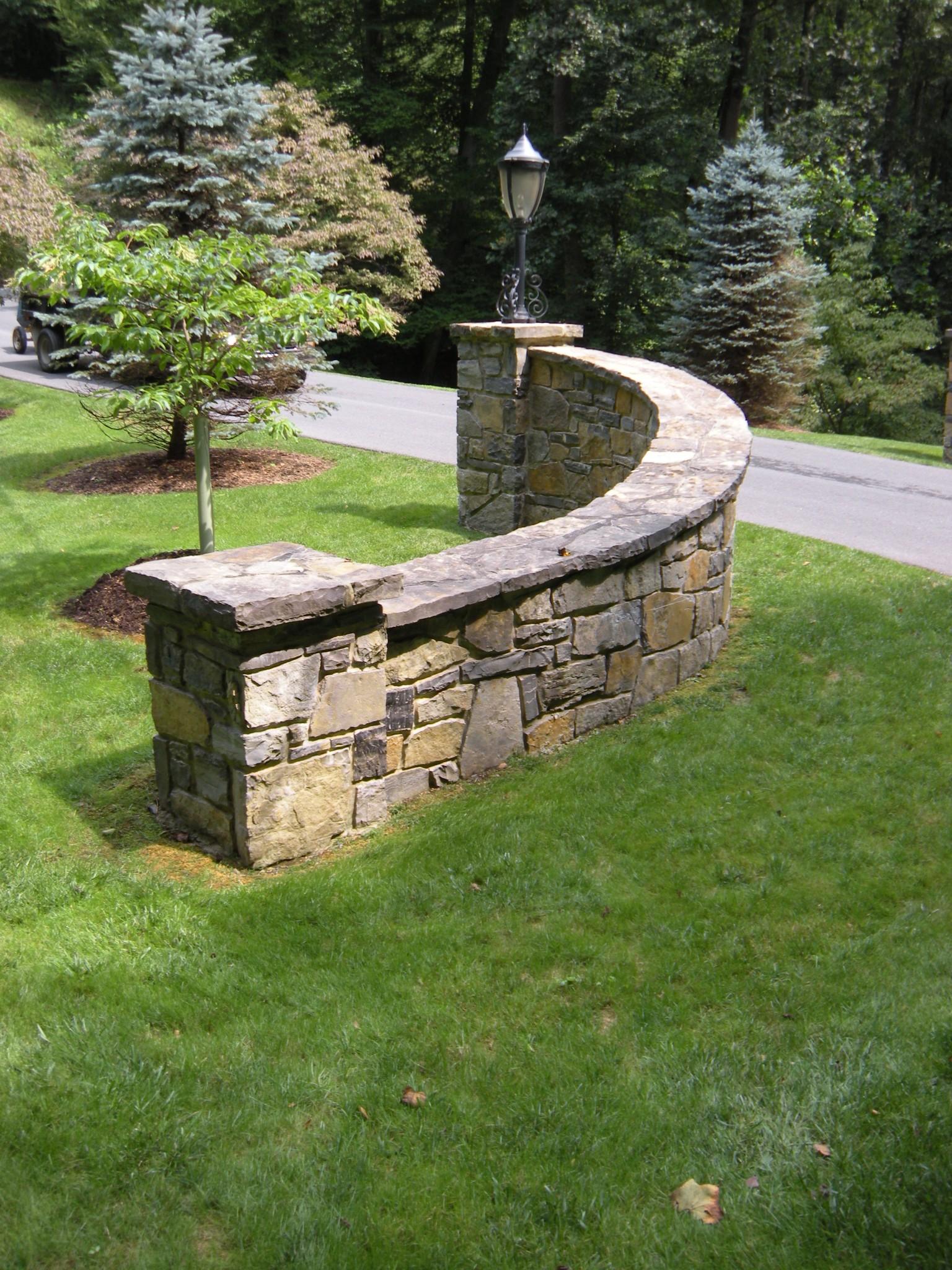 A limestone gateway at Sassafrass Hill.