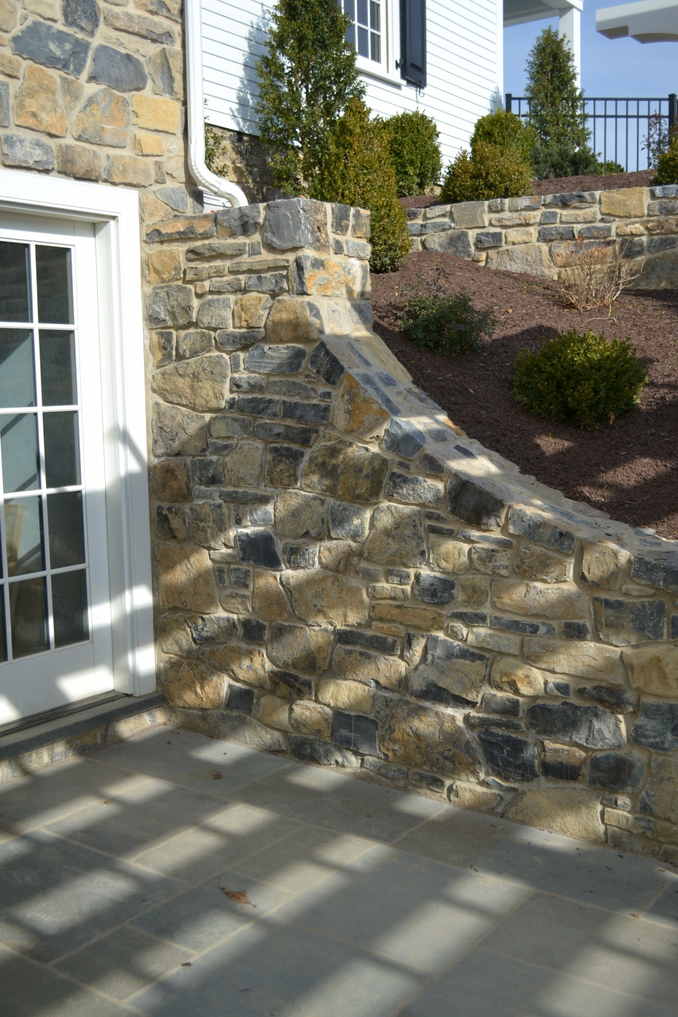 A limestone retaining wall at the Baylor House in Lewisburg, PA.