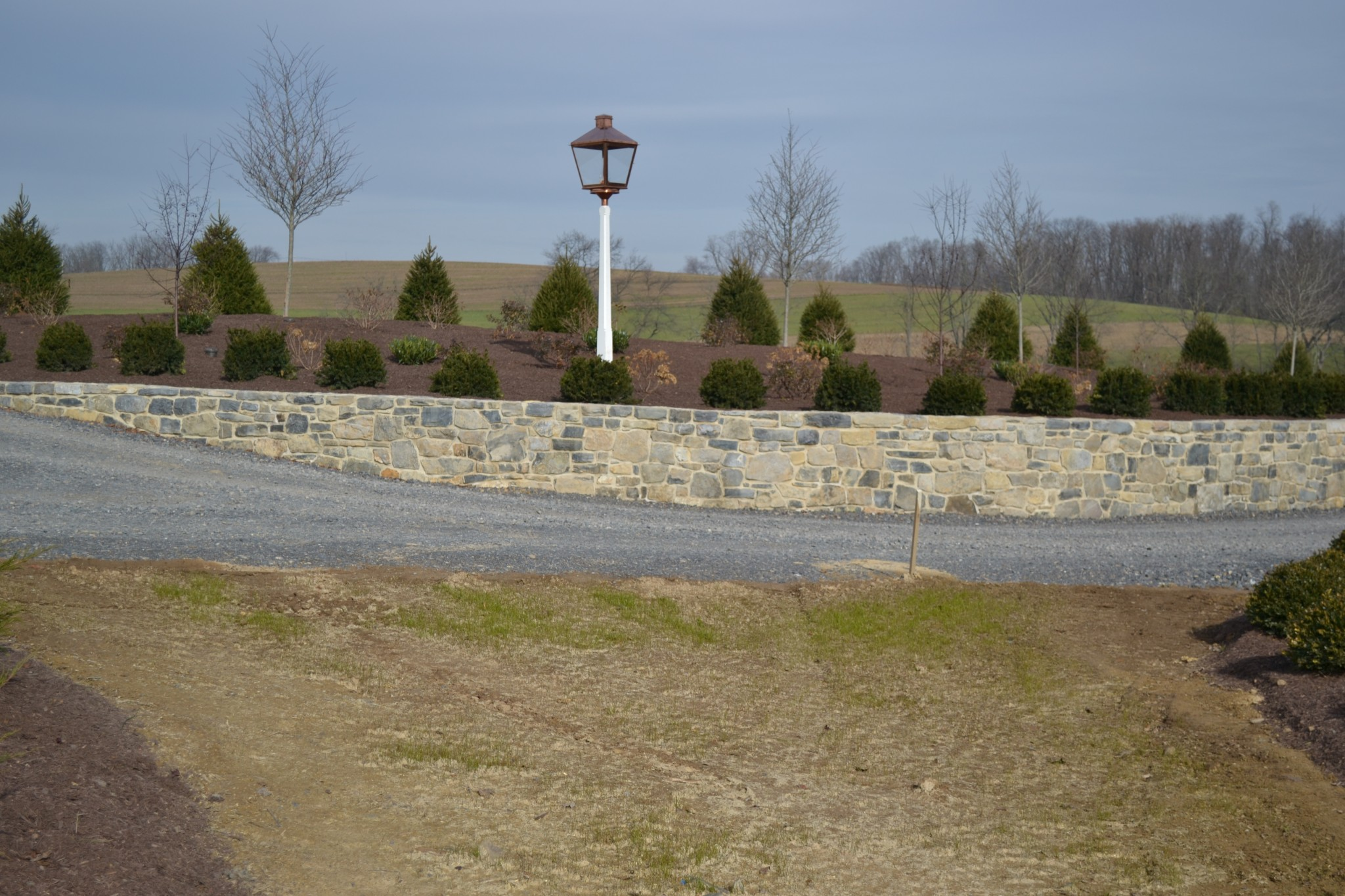 A retaining wall at the Baylor House in Lewisburg, Pennsylvania