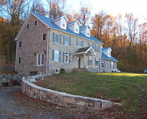 A stone house in Mount Pleasant Mills, Pennsylvania Built by Pyle Bros Building Stone Contractors